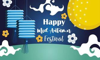 happy mid autumn festival, chinese lanterns flowers decoration blessings and happiness vector