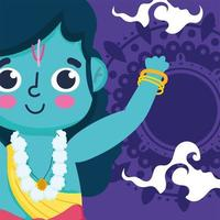 happy dussehra festival of india, rama cartoon hindu traditional religious ritual vector