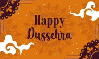 happy dussehra festival of india, traditional religious ritual lettering card vector