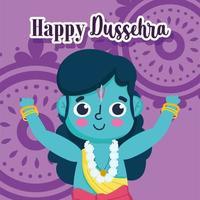 happy dussehra festival of india, lord rama cartoon festival hindu traditional religious ritual vector