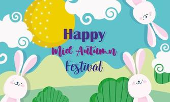 happy mid autumn festival, cute rabbits landscape nature, blessings and happiness vector