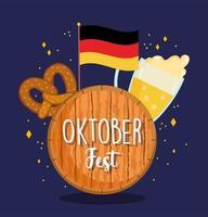 oktoberfest festival, german flag beer and pretzel, celebration germany traditional vector