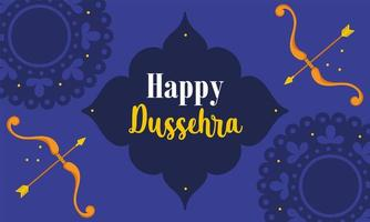 happy dussehra festival of india, traditional religious ritual, greeting card with bow and arrow vector
