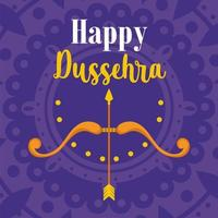 happy dussehra festival of india, arrow bow traditional religious ritual vector