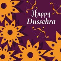 happy dussehra festival of india, flowers bow arrow decoration, traditional religious ritual vector