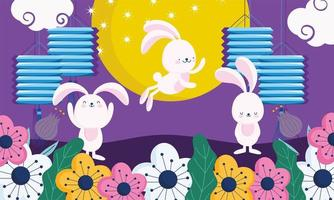 happy mid autumn festival, cute bunnies lanterns moon flowers cartoon traditional, blessings and happiness vector
