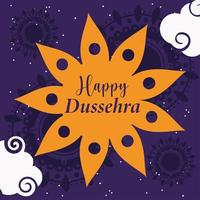 happy dussehra festival of india, traditional religious ritual floral background vector