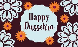 happy dussehra festival of india, traditional religious ritual flowers floral decoration banner vector