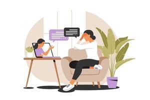 Psychological counseling concept. Psychological assistance service. Vector illustration. Flat.