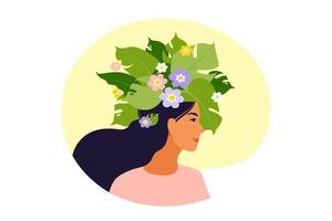 Mental health, happiness, harmony concept. Happy female head with flowers inside. Mindfulness, positive thinking, self care idea. Vector illustration. Flat.