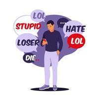 concepto de acoso cibernético. el hombre recibe mensajes abusivos. ilustración vectorial. Departamento. vector