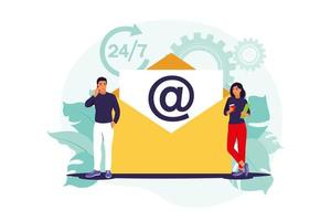 Email marketing, internet chatting, 24 hours support concept. Vector illustration. Flat.
