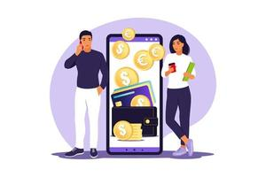 Digital wallet concept. Young people pays card using mobile payment. Vector illustration. Flat.