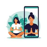 Yoga online concept with healthy woman doing yoga exercise at home with online instructor. Wellness and healthy lifestyle at home. Woman doing yoga exercises. Vector illustration.