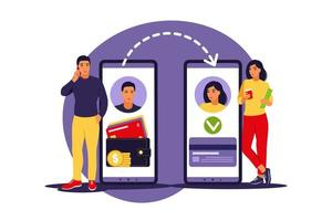 Online, transaction, banking, finance and digital technology concept. Man transferring money via smartphone. Vector illustration. Flat.