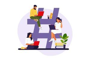 hashtag y concepto de redes sociales. jóvenes con símbolo hashtag. ilustración vectorial. piso aislado. vector