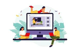 Group of students watching online webinar. Online education concept. Online business school concept. Vector illustration. Flat.