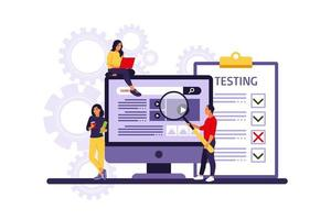 People testing software fixing bugs in hardware device. Application test and IT service concept. Vector illustration. Flat
