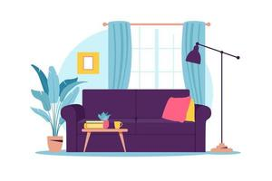 Interior of the living room with furniture. Modern sofa with mini table. Flat cartoon style. Vector illustration.