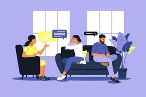 Family therapy and counselling. Woman psychotherapist support couple with psychological problems. Family psychotherapy session. Conversation with a psychologist. Vector illustration.