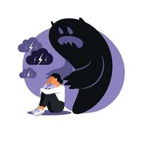 Fear or panic attack. Sad woman with lowered head frightened with his own shadow. Depressed, solitude, anxiety concept. vector