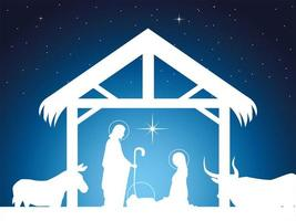 nativity, scene of baby Jesus in the manger with Mary Joseph and animals vector