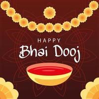 happy bhai dooj with yellow flowers and bowl vector design