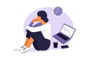 Professional burnout syndrome. Illustration tired female office worker sitting at the table. Frustrated worker, mental health problems. Vector illustration in flat style.