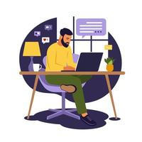 Home office concept, man working from home. Student or freelancer. Freelance or studying concept. Vector illustration. Flat style.