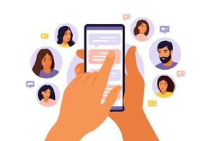 Refer a friend concept with cartoon hands holding a phone with a list of friends contacts. Referral marketing strategy banner, landing page template, ui, web, mobile app, poster, banner, flyer. vector