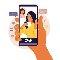 Hand holding smartphone chatting with friend during video call. Landing page. Videoconference with colleagu, distant discussion. Vector illustration. Flat style.