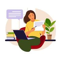 Online learning concept. Teacher with lesson book behind laptop, video lesson. Distance study at school. Vector illustration. Flat style.