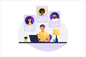 Man working on a computer. People on computer screen speaking with colleague or friends. Illustrations concept video conference, online meeting or work from home. Vector illustration.