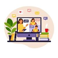 Online learning concept. Online class. Teacher at chalkboard, video lesson. Distance study at school. Vector illustration. Flat style.