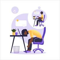 Professional burnout syndrome. Illustration with happy and tired office worker sitting at the table. Frustrated african worker, mental health problems. Vector illustration in flat.