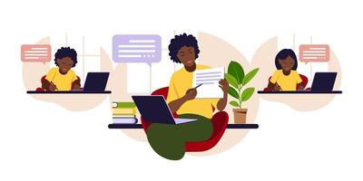 Online learning concept. Online class. African teacher at chalkboard, video lesson. Distance study at school. Vector illustration. Flat style.