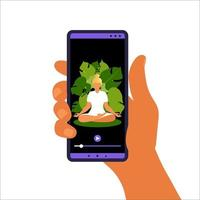 Yoga online concept. Woman doing yoga exercise at home with online instructor on mobile phone. Wellness and healthy lifestyle at home. Woman doing yoga exercises. Vector illustration.