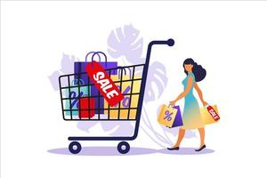 Young woman goes with paper bags and big cart. Concept of online and offline shopping, sale, discount. Vector illustration for web banner, infographics, mobile. Illustration in flat style.