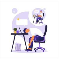 Professional burnout syndrome. Illustration with happy and tired office worker sitting at the table. Frustrated worker, mental health problems. Vector illustration in flat.