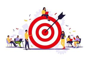 Business team achieving goal. Marketing strategy concept. People near huge target with arrow. Vector illustration. Isolated flat.