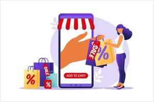 Young woman goes with paper bags. Concept of online and offline shopping, sale, discount. Vector illustration for web banner, infographics, mobile. Illustration in flat style.