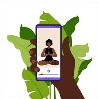 Yoga online concept. Woman doing yoga exercise at home with african online instructor on mobile phone. Wellness and healthy lifestyle at home. Woman doing yoga exercises. Vector illustration in flat.