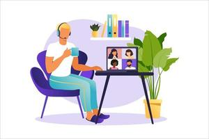 Online meeting via group call. People on computer screen speaking with colleague or friend. Illustrations concept video conference, online meeting or work from home. Vector illustration in flat style.