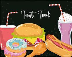 dibujos animados de comida rapida vector