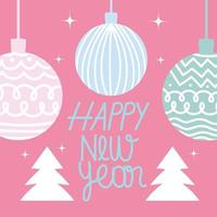 happy new year cute ornament and trees on pink background vector