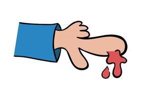 ilustración vectorial de dibujos animados de dedo sangrante vector