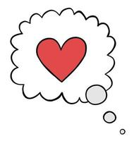 Cartoon Vector Illustration of Heart in Thought Bubble