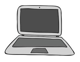Cartoon Vector Illustration of Laptop Computer