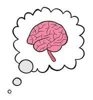 Cartoon Vector Illustration of Brain in Thought Bubble