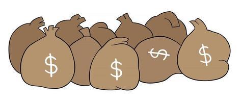 ilustración vectorial de dibujos animados de sacos llenos de dinero vector